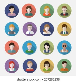 People userpics icons in flat style in circle button. Different man and woman. Vector illustration.