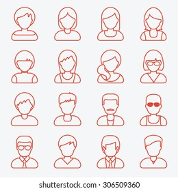 People userpics icons in line style. Different man and woman. Vector outline style illustration.