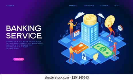 People using computer for online banking and accounting. Mobile banking. Web concept for online banking. Page template. 3d isometric illustration