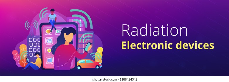 People using different electronic devices such as smartphone, laptop, tablet. Radio fields, electromagnetic pollution, radiation concept, violet palette. Header or Footer banner template.