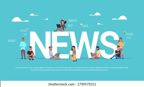 people using digital devices men women reading daily news communication mass media press concept horizontal full length copy space vector illustration