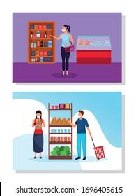 people using face masks in supermarket vector illustration design