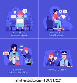 People using gadgets and devices and sharing on social media UI illustrations. Web surfing and social network activity concepts. Smiling men and women chatting, communicating and sending messages.