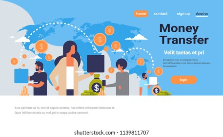 people using global payment application money transfer concept dollar coin world map background flat copy space horizontal vector illustration