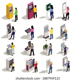 People using information board and kiosk with interactive interfaces isometric icons set isolated on white background vector illustration