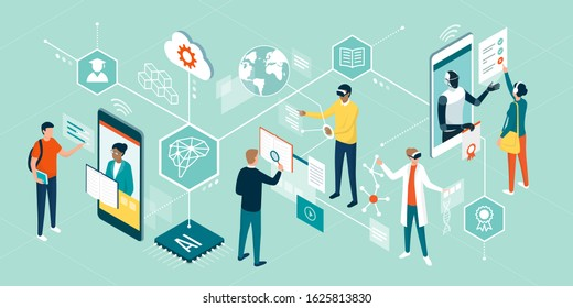 People using innovative technologies for education, attending online courses, interacting with virtual reality and artificial intelligence
