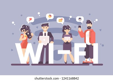 People using internet on modern gadgets poster. Men and women standing with smartphone laptop and tablet near big letters wi-fi vector illustration. Internet technologies concept