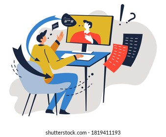 People using online application to talk, business partners on meeting, internet technologies for work. Characters discussing job and projects completion. Questions and answers vector in flat