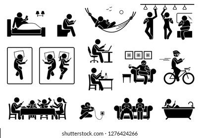 People using phone at different places. Icons depict human with smartphone on bed, toilet, train, sofa, and bathtub. They also use phone during work, meal, resting, cycling and charging battery.