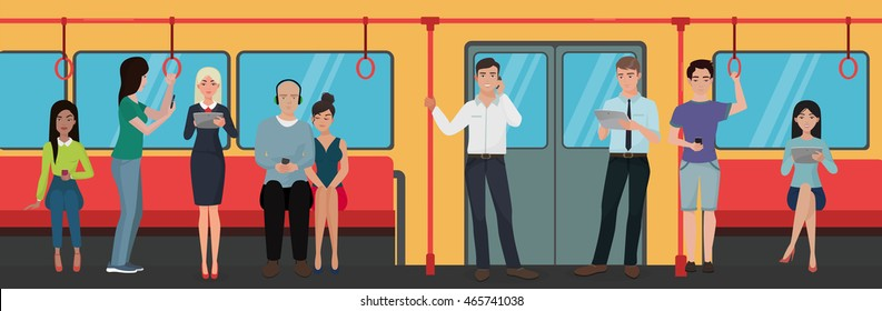 People using smartphone phones in subway train public transport