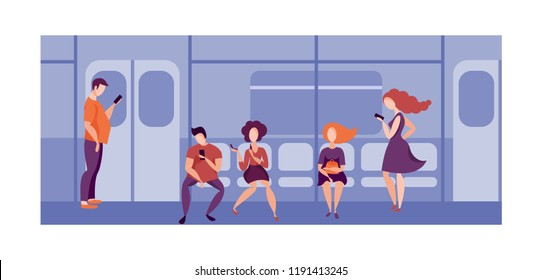 People using smartphone in public transport in train. People traveling on the subway.