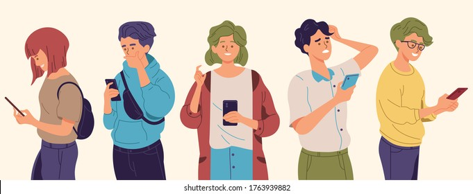 People using smartphones with different poses and expressions. Man and women holding a phone to texting, read online news, chatting, play games, social media, usability. Flat style vector illustration