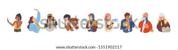 People using smartphones flat vector illustration set. Men and women with cellular devices cartoon character collection. Mobile internet, social media. Taking selfie. Modern communication technology.