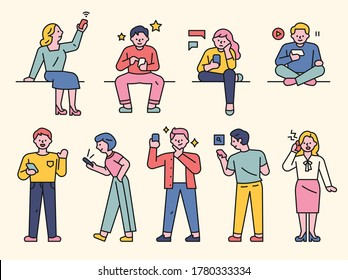 People are using various functions of mobile phones. flat design style minimal vector illustration.