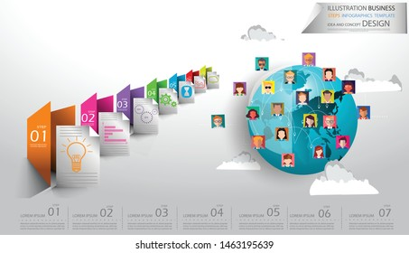 People various  Contact communicate  Social Network Technology with Earth, Folder Colorful, creativity Illustration Business Steps Infographics Template  Idea and concept design.
