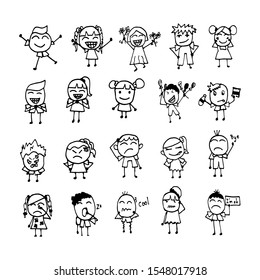 People with various emotions do things. Both women and men are very cute. Vector illustration.