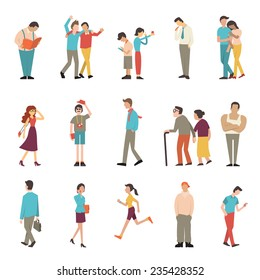 People in various lifestyles, businessman, woman, teenager, traveler, friends, sport woman, hip hop guy, senior couple, lovers. Character set with flat design style.