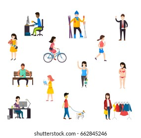 People in various lifestyles, businesspeople, woman working, teenager walking to the dog, Set of cartoon people.