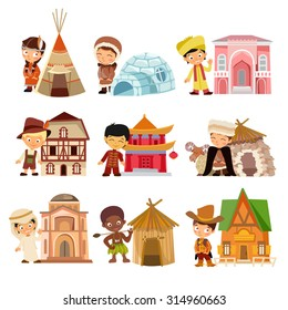 People of various nationalities with their traditional houses. People from around the world with traditional buildings. Cartoon characters icon set. Vector illustration