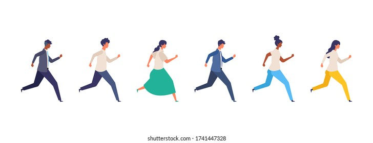 People of various races are running. Concept for the business and social issues illustration. Vector illustration in flat style.