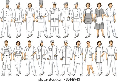 People of various specialties in white clothes