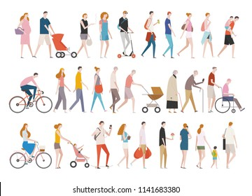People in various styles of fashion walking down the street. flat design style vector graphic illustration set