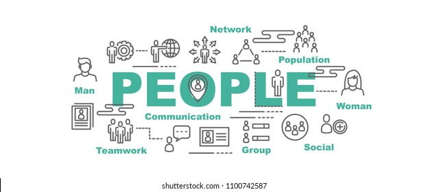 people vector banner design concept, flat style with icons