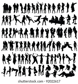 people vector black silhouette on white background