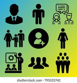 People vector icon set consisting of 9 icons about group, businessman, chat, avatar, meeting, conversation, man, people, woman and user