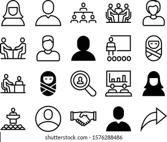 people vector icon set such as: users, greeting, search, contract, line, data, media, community, friendship, find, employment, handshake, finance, tool, speaker, deal, publish, file, workflow