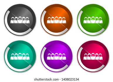 People vector icon, team button