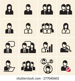 People vector icons set. Office people.