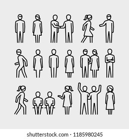 People Vector Line Icons Set