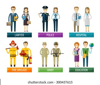 people vector logo design template. police, firefighting service, hospital and soldier, lawyer, education  icons