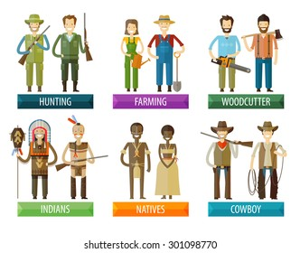 people vector logo design template. farmer, hunter and native, indian, woodcutter  icons