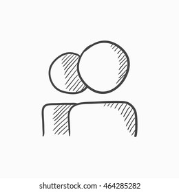 People vector sketch icon isolated on background. Hand drawn People icon. People sketch icon for infographic, website or app.