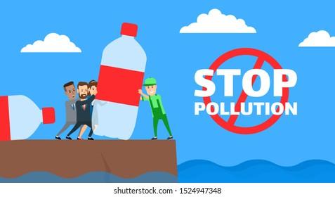 people versus eco volunteer pushing a plastic bottle stop pollution concept illustration