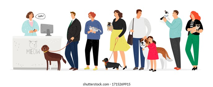 People in veterinary clinic. Hospital for pets. Long queue to administrator or doctor. Man woman with dogs and cats vector illustration