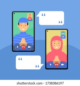 people video call happy eid mubarak. flat illustration concept. boy and girl communication on virtual online app with namaste hand and conversation template. vector graphic design
