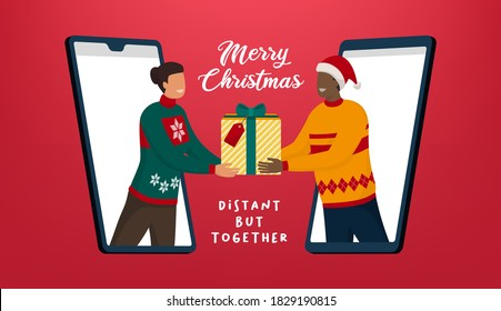 People video calling and sharing Christmas gifts online, coronavirus prevention and safe Christmas celebration online