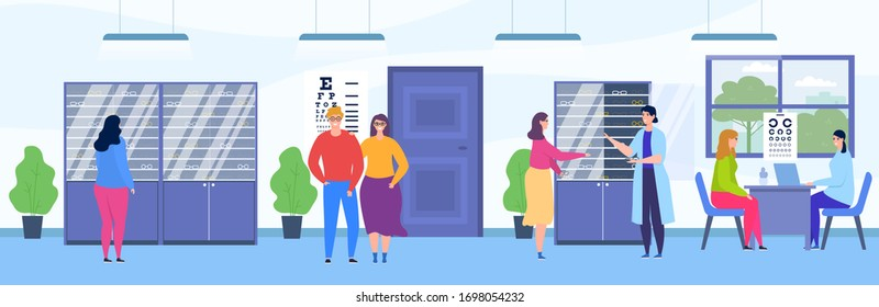 People visit ophthalmology store vector illustration. Cartoon flat happy visitor characters choosing eyeglasses in optical shop room interior, ophthalmologist consulting patient on examination checkup
