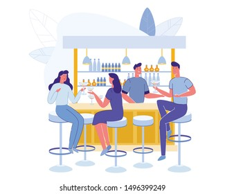 People Visiting Cafe. Men and Women Characters Drinking Beverages on Bar Counter with Barman Making Drinks in Modern Restaurant Interior. Guy Flirting with Girls, Cartoon Flat Vector Illustration