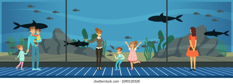 People visiting an oceanarium, kids watching sea fish at excursion with their teacher vector Illustration in flat style