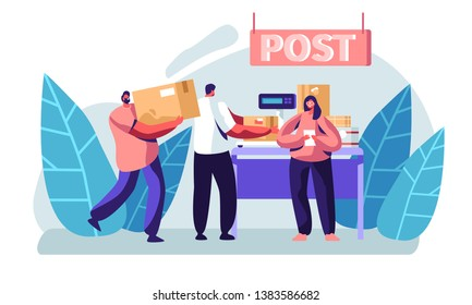 People Visiting Post Office. Female Character Holding Letter in Hands, Men Weigh Parcels on Scales on Reception Desk. Mail Delivery Service, Postage, Customers at Post Cartoon Flat Vector Illustration
