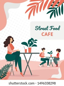 People Visitors Sitting in Modern Summer Time Street Food City Cafe. Man and Woman Dating on Restaurant Terrace, Leisure on Outdoor Cafeteria Exterior Cartoon Flat Vector Illustration, Vertical Banner