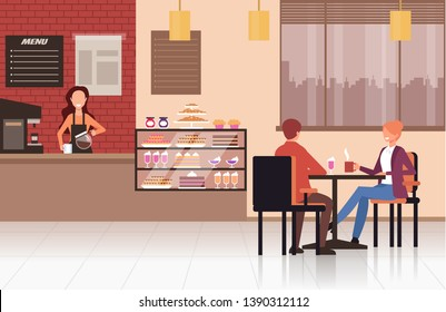People visitors sitting on table and drinking coffee tea in coffee shop cafe. Street food concept. Vector design flat graphic cartoon illustration