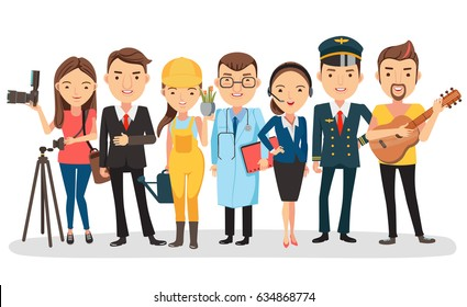 People vocation of different professions. Photographer, businessman, gardener, operator, police. Isolated on white background Vector illustration