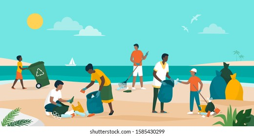 People volunteering together and cleaning up the beach, they are collecting and separating waste, environmental protection concept