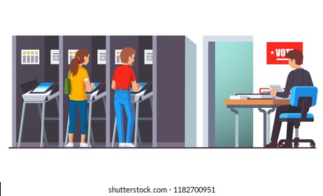 People voting at modern voting station standing in booth making choice using modern automated counting machine. Balloting watcher working at desk.  Flat style vector isolated illustration
