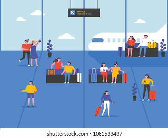 People waiting at the airport for a journey. vector illustration flat design